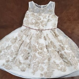 White and Gold Little Girl Dress